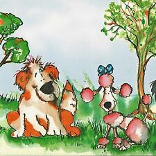 Cute Puppy Dogs Play in Field - 60 feet FREE USA SHIPPING  Wallpaper Border A394