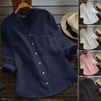 Women Linen Cotton Button Down Shirt Tops Long Sleeve Solid Blouse T-Shirt S-5XL