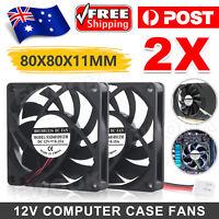 80x80x10mm DC 12V Brushless Silent Computer PC Case Cooling Cooler Fans Black