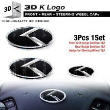 3D K Logo Grille Trunk Steering Wheel Emblem For KIA 2013-2018 Cerato / K3 Sedan