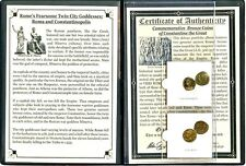 Twin City Goddesses,Roma & Constantinopolis Coins,Certificates,Story and Album