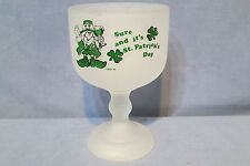"""Vintage Indiana Glass Tiara Exclusives St. Patrick's Day Goblet Candy Dish 8"""" T"""