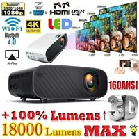 1080P HD WiFi Bluetooth 3D LED Mini Video Projector Home Cinema 18000 Lumens 4K