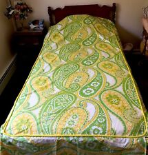 Bedspread Twin Mod 1970's Green Yellow Retro Vtg Paisley Bloomcraft