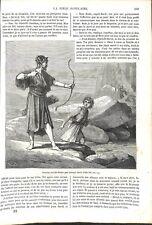 Ancien Testament Jonathas tire flèches Prévenir David Bible Israël GRAVURE 1864