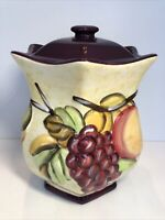 "Made For Nonni's Hand Made Painted 11"" Biscotti Cookie Jar Purple Fruit EUC"