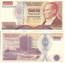 Turkey P202 20,000 Lirasi, Ataturk /  Central Bank building, Ankara 1995 UNC