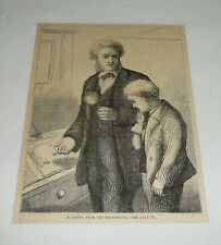 1879 magazine engraving ~ A Lesson From The Microscope (magnifying glass)