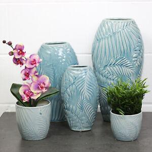Tropical Leaves Indoor Decorative Flower Vase Stoneware Planter Garden Plant Pot