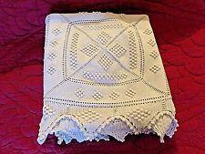 Jeté de lit ancien au crochet-coton blanc-jeté de canapé-190X170 cm-beau relief