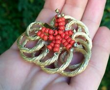 HAR unsigned brooch coral beads and rhinestones