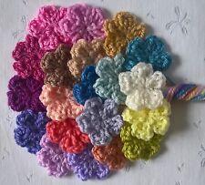 Foxy Flowers 20 Hand Crochet Applique Flowers - Mixed Colours - 3.5cm - crafts