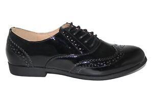 Ladies Women's Black Patent Brogues Derby School Work Shoes Size UK 3-8
