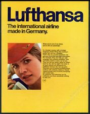 1970 Lufthansa airlines stewardess photo European vintage print ad