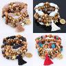 Fashion Multilayer Beaded Bracelet Natural Stone Crystal Bangle Women Jewelry