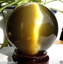 AA80MM + STAND Beautiful ASIAN QUARTZ TIGER EYE CRYSTAL HEALING BALL SPHERE