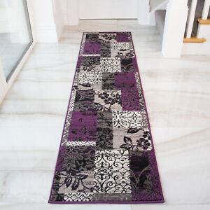 Purple Floral Hallway Runner Rug Small Large Patchwork Living Room Rug Bedroom