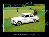 OLD POSTCARD SIZE PHOTO OF 1962 VOLVO 122s P130 LAUNCH PRESS PHOTO
