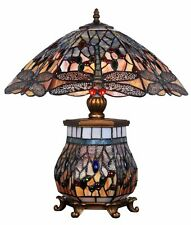 Bauchige Tiffany Tischlampe mit Libellen und Messing