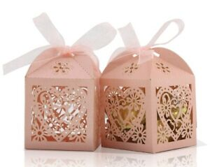 100 Pack Love Heart Candy Boxes Party Favor Wedding Baby Shower PINK