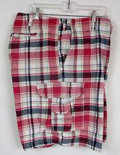 Mens Sz 52 Club Golf Shorts Flat Front Cargo Retro Cotton Red Madras Plaid Big