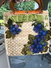 Vintage Straw Bag Purse Grapes Bakelite Handle Blue Purple