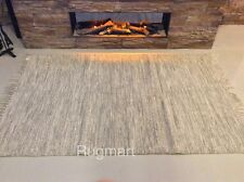 NATURAL CREAM GREY Eco Friendly Recycled Cotton Reversible Washable Rug Runner
