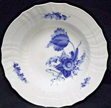 "Royal Copenhagen china Blue Flowers Scalloped Soup Bowl #1614 Factory 10-7/8"""