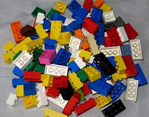 LEGO Bricks  2x2 , 2x3 , 2x4 pin x 100 pcs - Mixed Colours