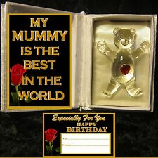 THE BEST MUMMY HAPPY BIRTHDAY TAG GLASS TEDDY BEAR  HEART CUDDLE BOOK GIFT