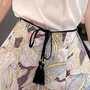 Women Hollow Fringed Thin Slim Skinny Waist Belts Braided Waistband Girdle Band