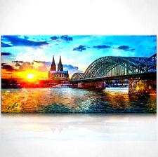 MÜNCHEN SUNSET VIOLET Panorama 5 BILDER P500182 XXL LEINWAND KEILRAHMEN Städte