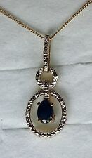 14K Gold Overlay 925 Sterling Silver Blue Sapphire & Diamond Pendant & Chain #3