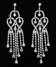 """Queen Bridal Wedding Earrings E438 4.5"""" Chandelier Ab Rhinestone Crystal Drag"""