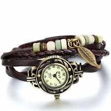 Women Vintage Handmade Leather Bracelet Leaf Decoration Quartz Charm Wrist Watch