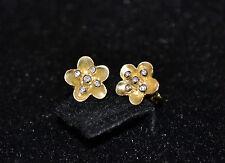 P1 - Unique Handmade 18k Gold & Diamond Flower Earrings Studs - Gift