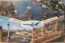 Uk Postcard Greetings From London England Airplane Multiview Tower Big Ben 1971