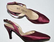 ST. JOHN SZ 6.5 M PURPLE SATIN SLINGBACK PUMPS HEELS DRESS SHOES MADE IN ITALY