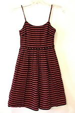 J Crew Size 0 Dress Black Red Striped Derby Fit and Flare Skater Spaghetti Strap