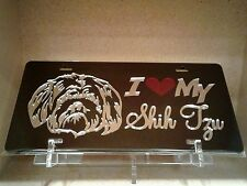 I Love My Shih Tzu (black) acrylic mirror laser cut license plate