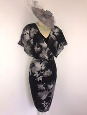 JACQUES VERT Size 14 Black Silver Floral Layer Dress Wedding Races Evening Party