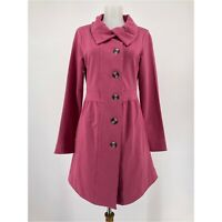 Sahalie Womens Jacket Solid Pink Button Up Coat Pockets Terry Knit Size Small