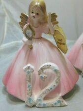 Vintage Josef Originals Birthday Girl Angels Angel Year 12 Bisque Hang Tags Mint