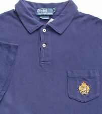 New $89 Polo Ralph Lauren Custom Fit Blue Cotton Mesh Pocket Polo Shirt / XL