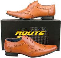 Mens New Tan Lace Up Leather Lined Formal Brogue Shoes Size 6 7 8 9 10 11 12