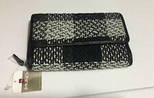 NWT Mundi White Black Tweed Wallet Large Checkbook Compartment Card Slots