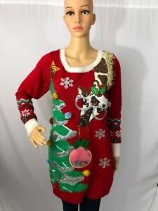 Ladies Christmas Sweater - Giraffe & Tree - Ugly Holiday Party - Multi Sizes
