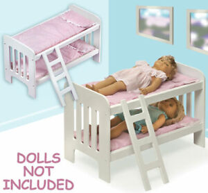 New Wooden Play Doll Bunk Bed with Ladder #BBT1855 White/Pink Gingham