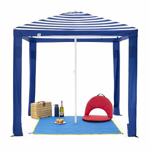 SlumberTrek 3049363VMI Maui Outdoor Beach Cabana Patio Umbrella Shelter, Blue