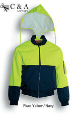 Hi-vis fluorescent Flying Jacket + Quited Lining Utility Pocket Hideable Pocket